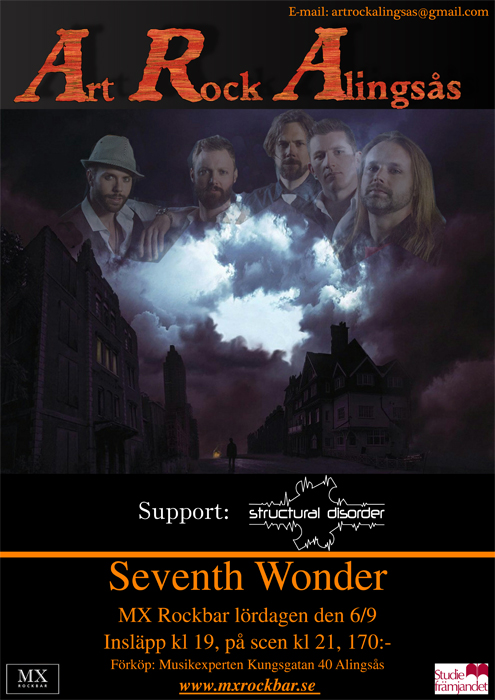 Seventh Wonder med support Structural Disorder gästar MX Rockbar i Alingsås.