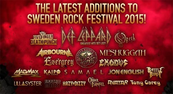 Nitton nya släpp till Sweden Rock Festival 2015.