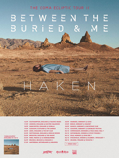Between the Buried and Me med support Haken gästar Sverige.