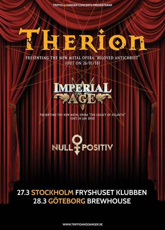 Therion – ny skiva tidiga 2018 och två svenska stopp.