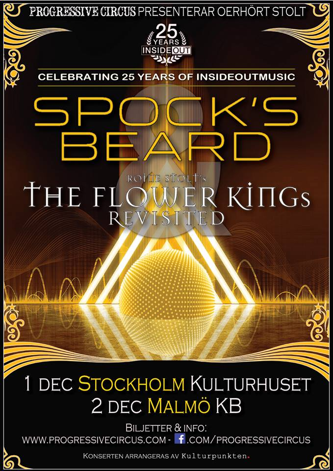 Spock's Beard & Roine Stolt's The Flower Kings Revisited kör två svenska spelningar.